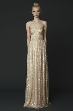 White and Gold Wedding. Gold Bridesmaid Dress.  Erin Fetherston gown