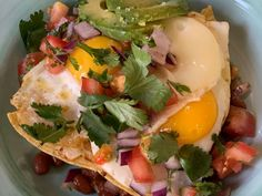 Get Huevos Rancheros Recipe from Food Network Egg Recipes For Breakfast, Breakfast Dishes, Brunch Recipes, Breakfast Ideas, Brunch Ideas, Huevos Rancheros, Nachos, Cilantro, Kitchen Recipes