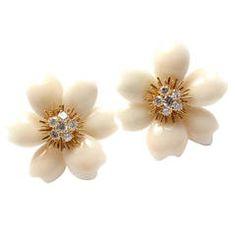 Van Cleef & Arpels Rose de Noel White Coral Diamond Gold Earrings