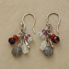 """GARNETS AND MORE EARRINGS -- Fiery garnets are a blaze of red amidst labradorites, moonstones and pink quartz. Handmade in USA with sterling and Thai silver beads. Exclusive. French wires. 1-1/4""""L."""