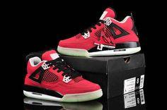 Nike Air Jordan IV 4 Retro Glowing Womens Shoes On Sale Red