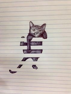 Notepad drawing, cat