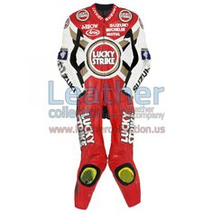 Kevin Schwantz wore the especially designed leather suit in 1995 - https://www.leathercollection.us/en-us/kevin-schwantz-lucky-strike-suzuki-gp-1995-leather-suit.html