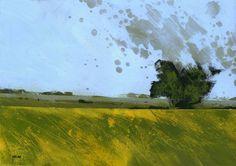Pintura de paisaje abstracto minimalista original - Lone tree