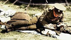 British soldier writes a letter home during the First World War