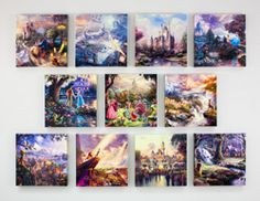 Ultimate Disney Collection (Complete Set of 11) - 14 x 14 Wrapped Canvases by Thomas Kinkade