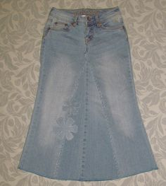 Girls Long Modest jean skirt size 10 by EastCoastSkirts on Etsy, $15.00