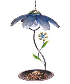 Another great find on #zulily! Blue Daisy Solar Bird Feeder by Evergreen #zulilyfinds
