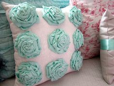 manipulated fabric rose cushion, love this colour scheme of blue and white