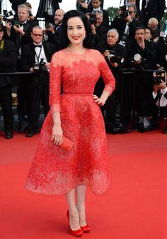 Dita Von Teese, les marches du 21 mai, Cannes 2013