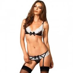91f63183f 2 PC Ladies Lace Trimmed Bra Set One Size BlackWhite     For more  information