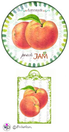 Circle jam label peach jam label printable mason jar by Pinturicon
