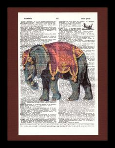 Shabby Chic Circus Elephant on Antique Dictionary Page - Elephant - Vintage Circus - Nursery - Children - Vintage Animal