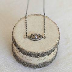 pave set diamond evil eye pendant necklace by between you & i | notonthehighstreet.com