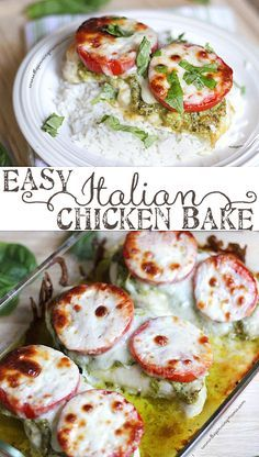 So easy and tastes AMAZING! The perfect weeknight dinner recipe! Easy Italian Chicken Bake. Just 4 ingredients. What a great use for the jars of Pesto from Costco!!