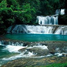 Ocho Rio Falls, Jamaica. Dunns waterfall. Pretty cool experience if you ever get a chance to go.