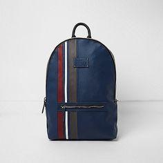84e94f7e86c6 Blue stripe panel backpack Mens Sale