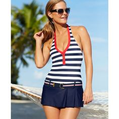 Tommy Hilfiger Striped Belted Halter Swimdress ($128) ❤ liked on Polyvore featuring swimwear, navy multi, halter-neck tops, striped halter top, halter tops, navy blue halter top and halter swim dress