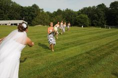 Bridal party plays Rugby on Twelve Acres grounds. Wedding featured on theknot.com.