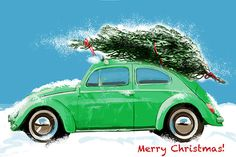Excited to share this item from my #etsy shop: VW Beatle Christmas Card, Red car holiday card, Volkswagen Christmas card, custom car card, Holiday card, VW cars card, car enthusiast card