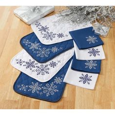 Herrschners® Snowflake Stamped Cross-Stitch Place Mat and Napkins, Set of 8 Stamped Cross-Stitch Kit