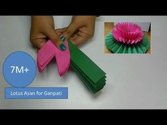Lotus flower/ Lotus Asan for Ganpati Decoratios Art Lotus, Paper Lotus, Lotus Flower Art, Pink Paper, Paper Crafts Origami, Paper Crafts For Kids, Diy And Crafts, Diy Origami, Paper Quilling