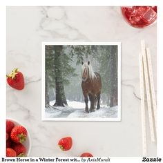 Brown Horse in a Winter Forest with Snow Falling Napkins Cocktail Party Themes, Brown Horse, Ecru Color, Xmas Party, Paper Napkins, Horse Riding, Keep It Cleaner, Holiday Cards, Party Supplies