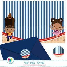 Convite Soldadinho de chumbo e Bailarina mod:111 Tin Soldier and Ballerina Printable Party