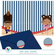Convite Soldadinho de chumbo e Bailarina mod:111 Tin Soldier and Ballerina Printable Party