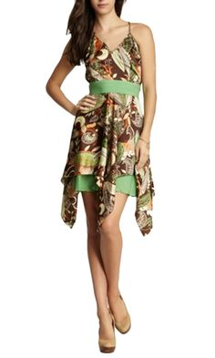 Zen from KAS New York. A beautiful brown and green printed dress that is perfect for a summer wedding or graduation party. Pair it with nude heels to complete the look.Guaranteed to land you tons of compliments! $117