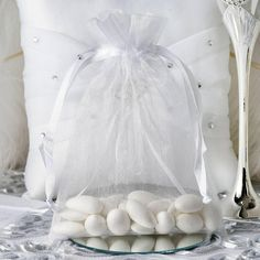 Checkout efavormart's exclusive assortment of Favor Bags, Gift Bags, Candy Bags and Pouches for Wedding Favors and Party Favors. Premium quality Sheer Organza Favor Bags are perfect for weddings, showers, and anniversaries. Wedding Favor Bags, Unique Wedding Favors, Wedding Party Favors, Wedding Reception, White Wedding Decorations, Cheap Favors, Candy Favors, Decorating Supplies, Drawstring Pouch