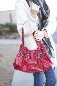 winter style - cozy cardigan, scarf, red bag