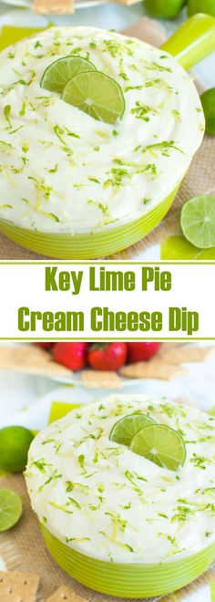 Easy cream cheese dip recipe that tastes just like key lime pie. This no bake Key Lime Pie Cream Cheese dip is perfect with graham crackers. Makes a great make ahead dessert or cream cheese fruit dip. This will be a hit at your holiday party or potluck. Cheese Dip Recipes, Lime Recipes, Fruit Recipes, Fruit Dips, Fruit Snacks, Party Snacks, Fruit Party, Fruit Salsa, Fruit Trays