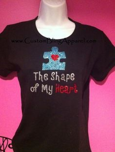 Shape of my Heart AUTISM awareness Puzzle piece shirt for women