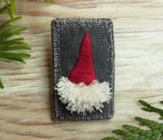 Christmas Gnome Hand Embroidered Brooch / Pin by Sidereal on Etsy, $22.00