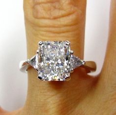 3.07ct Estate RADIANT Cut Diamond 3 stone (needs split shaft band with small pave diamonds on it. )