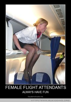 FEMALE FLIGHT ATTENDANTS Not me but a ramper who was a good pal notice word was and a couple of pilots stuffed me in one once walked out turn lights off needless to say the pilots food n coffee was not to tasty next trip ...