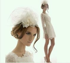Short lace wedding dress and bird cage veil. LOVE IT ALL