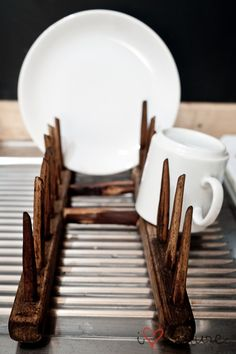 Have an old rake but need a new dish rack? Make the best of both worlds.
