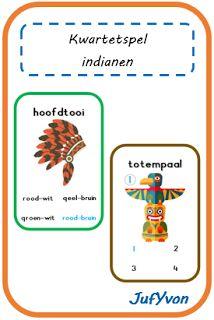 ©JufYvon: Kwartetspel thema indianen