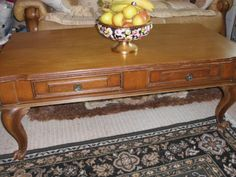 VINTAGE-WOODEN-COFFEE-TABLE-WITH-2-DRAWERS-2-DUMMY-DRAWERS-SCROLL-BUN-FEET