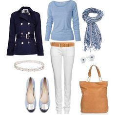 ***navy trench coat works if its light in weight.  Ignore the white pants and the top and accessories***