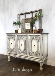 White and grey painted buffet rustic - painted cabinet #paintedfurniture #affiliate