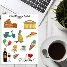 I Love Italy Travel Planner Stickers | Travel Stickers | Rome Stickers | Italian Food Stickers | Holiday Vacation Stickers (S-162)
