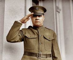 Babe Ruth signs up for the New York National Guard. (Colorized Photo).