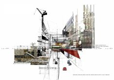 Transverse - RMIT Architecture Studios Architecture, Urban Architecture, Architecture Drawings, Amazing Architecture, Sectional Perspective, Landscape Diagram, Italian Futurism, Presentation Board Design, Nyc Studio
