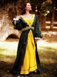 Lightweight Renaissance Green Kirtle Overdress