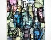 Colored Glass Jars - Watercolor paint on paper - 12x18 inch