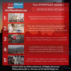 Get your news update date from the #WNewsNetwork source with #WNNtop5 for the latest stories for May 1st.