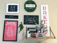Christmas Gallery wall with Chalk Couture Joy to the world, bakery, vintage truck complimentary cocoa and cider, our cheeks are nice and rosy and comfy cozy are we transfers. Little Christmas Trees, Last Christmas, Christmas Coffee, Kitchen Gallery Wall, Mini Cake Stand, Cow Creamer, Red Plates, Joy To The World, Table Centerpieces